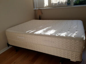 S & F Q size mattress + box spring set moving sale