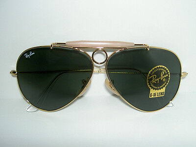 New RAY BAN Sunglasses AVIATOR SHOOTER Gold RB 3138 001 Glass G-15 Lenses (62mm Ray Ban Aviator)