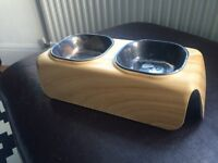 Quality moulded double pet bowl feeding tray