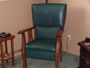 Vintage Oak & Leather Chairs