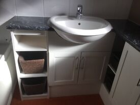 Bathroom Sink, worktop, storage units & WC - selling due to shower conversion