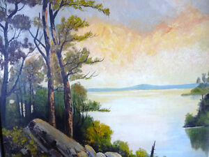 "Algonquin Original Oil Painting by R. Dogger ""Burning Sky"" 1950 Stratford Kitchener Area image 2"