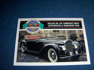 1913 ROADSTER-DELAGE D8 120 CABRIOLET-2 PANINI CARDS-1991