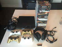 PS3 SLIM--25 Games, 4 Controllers, 2 Charger, Headset, All Cable