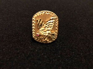 10K Solid Gold Mens Eagle Ring With Ruby Eye