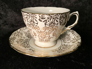 Royal Malvern - Gold Floral Chintz - Teacup and Saucer
