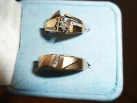 TRIO ALLIANCES MARIAGE EN OR 10K SERTIES DE DIAMANTS!!!