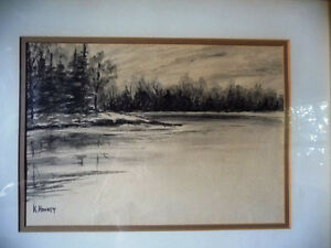 "Original Northern Landscape Watercolor by K.Rooney  ""Shoreline"" Stratford Kitchener Area image 2"