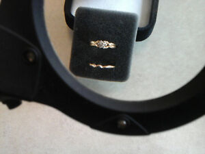"NEW PRICE -275.""star""14k yellow gold engagement wedding band set"