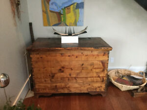 Old Brazilian pine chest - large 48x30x33.5 inches