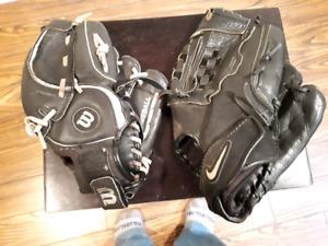 Nike and Wilson baseball gloves