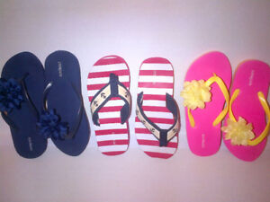 Great Collection of 3 Pairs J CREW Flip Flop Girls Sizes 1-4