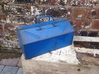 Vintage Metal Blue Engineers Tool Box - VGC - CAN DELIVER