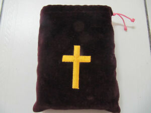 Classic Holy Bible With Custom Embroidered Velvet Case Circ 1956