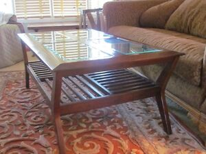 Modern Coffee Table & Antique Carved Table