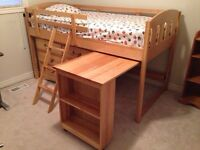 Birch Loft Bed with Desk and Drawers