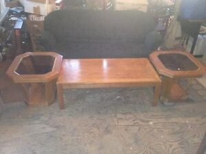 oak coffee table with 2 side tables with glass insets