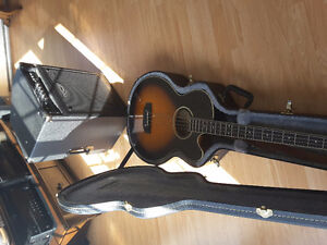 Acoustic, electric bass and amp