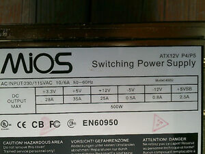 MIOS Gold Switching Power Supply 2 Fans 500W (pour pièces)