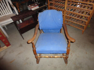 Head board, antique chair,quilting table, glider rock