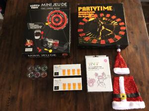 Lot de jeux divers party : darts, roulette russe, shooters, etc.
