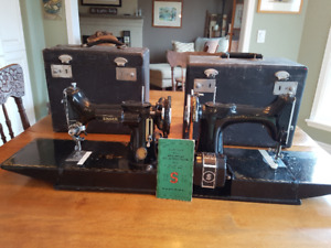 Two Vintage Singer Featherweight 221 Sewing Machines