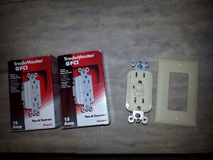 One 15A GFCI electrical outlet receptical with plate - Ivory New