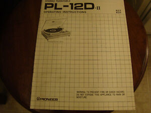 Vintage Pioneer Turntable PL - 12D operating instructions