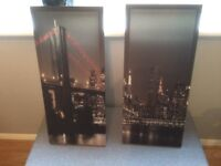 2 canvas New York at night pictures