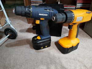 12v & 18v cordless drills & battery, no chargers $25 for both