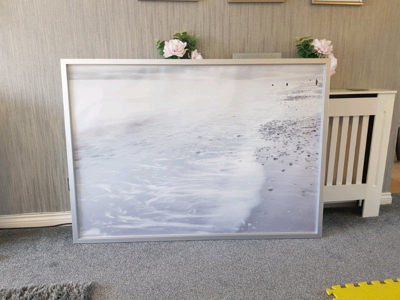Large Ikea Grey Beach Scene Canvas With Frame In Lenzie