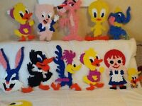 Vintage Melted Plastic Popcorn Looney Tunes Characters