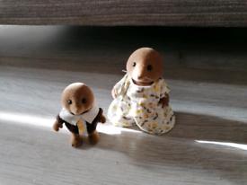 Sylvanian families Mole, mother & son.