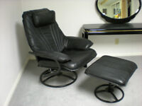 Black leather reclining swivel chair and automan