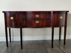 Gorgeous Mahogany Side Board with custom cover