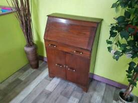 Dark Oak Bureau / Desk With Drawer & Cupboard - Can Deliver For £19