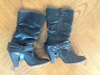 Leather Boots, River Island, size 4.5/5 vgc
