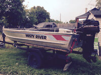 Boat, trailer and two motors