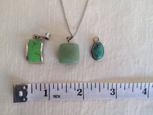 Silver chain with 3 stone pendants