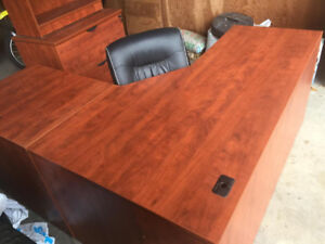 Heartwood Desk, Credenza, Shelf and chair