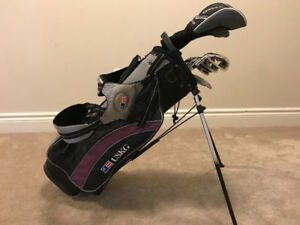 "US Kids Golf Left hand 54"" (stand bag + 8 clubs)"