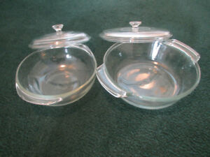 2 Glass Casserole Dishes - 1 Anchor - 1 Pyrex