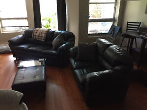 Black Leather Couch, Love Seat $800 OBO.