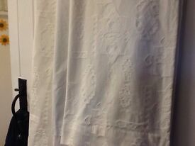 """Thick cream curtains with attachable linings ech curtain 48"""" wide x 54"""" drop -"""