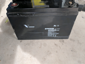 12v 120ah VISION AGM battery with box Great for camping 4x4 etc..