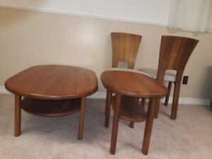 2 dinner chairs + 2 pieces set living room  tables teak.