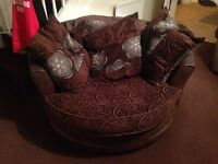 Brown Swivel Armchair & Corner Sofa with Footstool
