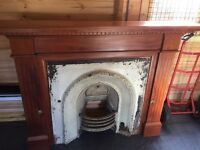 Solid Mahogany fire surround with cast iron insert