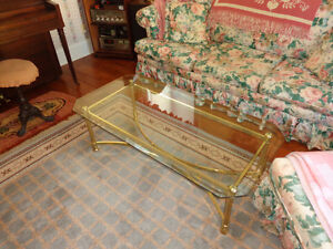 Brass coffee table, 2 end tables