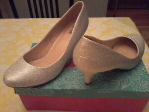 Silver sparkle dress shoes.